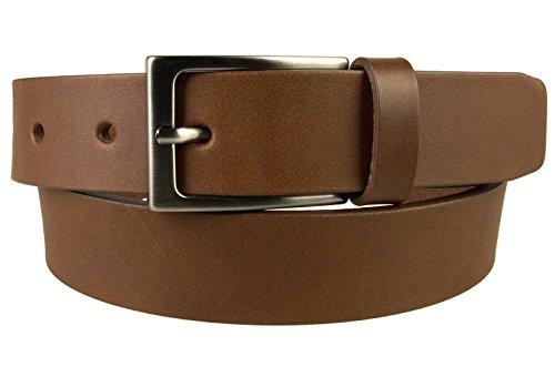 Full Metal Buckle (XXL, 46-50 Brown - Gun Metal Finish Buckle - Full Grain Leather Belt - Made in UK)
