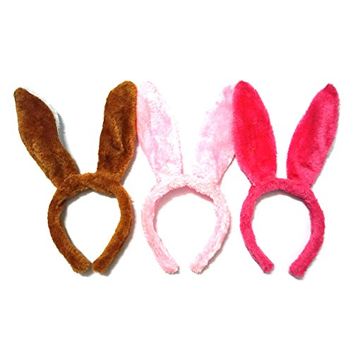 [Manc GG Cute Plush Bunny Rabbit Ear Headbands Hare Headwear Hair Head Bands Hair Accessories for Party and Holiday 3] (Holiday Recital Costumes)