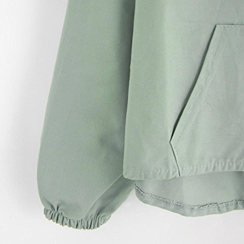 Corte Tops Donna Cappotto Dolce Felpa Pullover Camicie Corto Maniche Lunghe Verde Casual Camicette Shirt orecchino Autunno T con ABCone a Maniche Elegante Rp0wdRvq