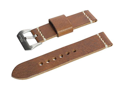 SWISS REIMAGINED Genuine Full Grain Leather Watch Band Strap Choice of Color Antique Brown