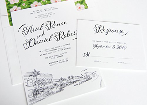 Hilo Hawaii Skyline Destination Wedding Invitations Package (Sold in sets of 10 Invitations, RSVP Cards and Envelopes)