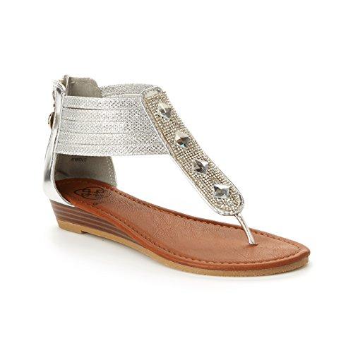 Daisy Fuentes Vegan Ginger Sandal – Jeweled Metallic, Low Wedge Heel, Zipper ()