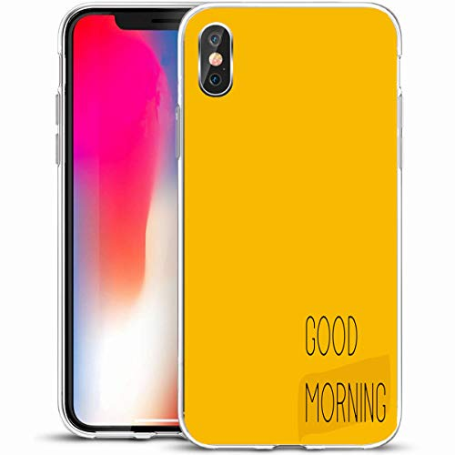 "Tobesonne Protective Phone Case Cover for iPhone X/XS 5.8"",Brown Button Good Morning Minimal Quote Monday Graphic Label Letter Design,Anti-Scratch Soft Rubber Gel/TPU"
