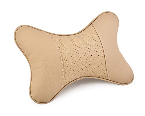 Ace Select Car Neck Pillow 2 Pieces PU Leather Travel Pillow for Head Rest Neck Support for Car Seat (Beige)