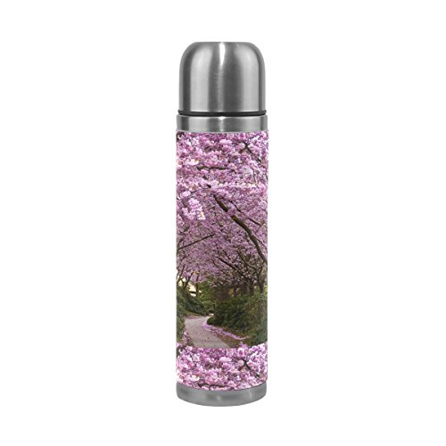 LEISISI Japanese Sakura Flowers Stainless Steel Water Bottle Leak-Proof Vacuum Insulated Flask Pot Sport Double Wall Water Bottle PU Leather Travel Thermal Mug 17 Oz by LEISISI