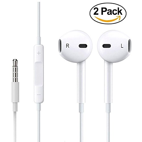 xulin Earphones/Earbuds/Headphones with Stereo Mic & Remote Control for apple iPhone iPad iPod Samsung Galaxy and More Android Smartphones Compatible With 3.5 mm Headphone.[2 Pack ()