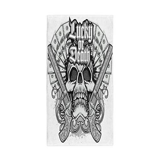 Semtomn 14 x 30 Inches Bath Towel Pirate Gothic of Arms Skull and Guns Vintage Angel Soft Absorbent Travel Guest Decor Hand Towels Washcloth for Bathroom(One Side Printing) ()