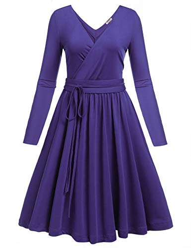 Women Pleated Long Purple Fit ACEVOG Flare V A Sleeve Neck Dress with Sexy Casual Dresses Line Deep Belt xpwUpI