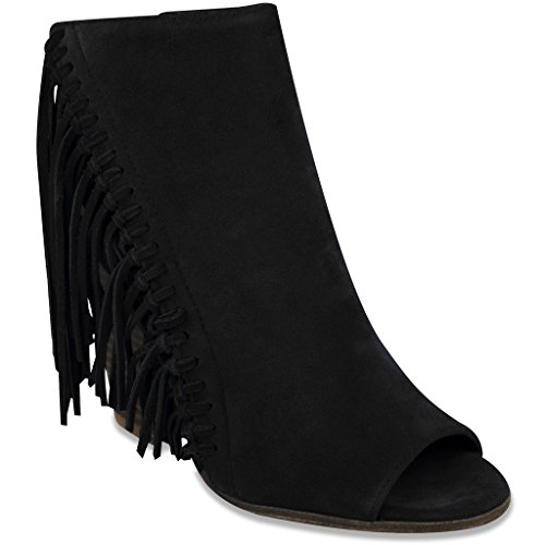 Fringe Shoes (Rampage Women's Lauryn Fringe Peep Toe Open Back Heeled Ankle Boho Bootie,  Black FX Suede , 6 M US)