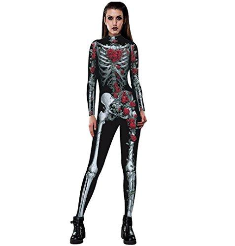 Dead Doll Makeup (Women's Skeleton Jumpsuit,Crystell Womens Halloween Punk Rock Skull Skeleton Bones Zip Back Jumpsuit with Rose (M))