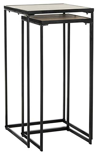 2 Piece Nesting End Tables - Iron Base End Table - Black (Tables Iron Nesting Square)
