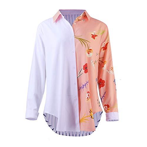 Col V Manches Chemisier Chic Fluide Chemise lgant Blouse Unie Tops Chemises Femme Couleur Pink Longues YUYOUG Femme pBUqw