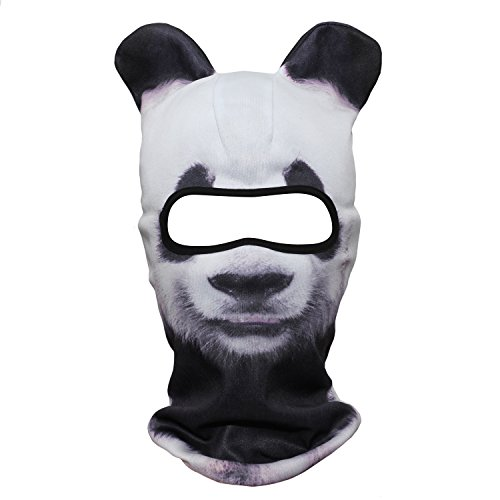 WTACTFUL 3D Animal Ears Balaclava Windproof Face Mask Sun Protection for Skiing Snowboard Cycling Motorcycle Music Festivals Raves Halloween Party Summer Winter Cold Weather Outdoor Panda MEB-01 -
