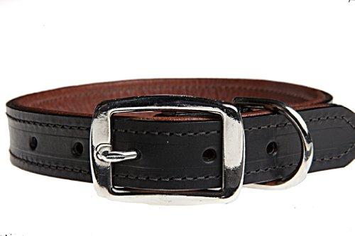 Tasman's Natural Pet Bridle Tanned Bison & Elk Leather Dog Collar - Black, Mahogany Lined, (Bison Leather Dog Collar)
