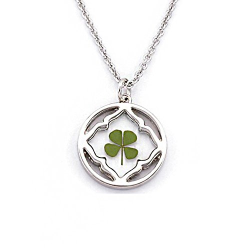 """Stainless Steel Real Four Leaf Clover Good Luck Symbol Square in Circle Pendant Necklace, 16-18"""" ()"""