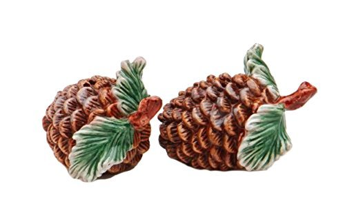 A Pair of Pine Cones with Stem and Leaves Salt and Pepper ()