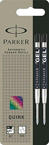 Parker S0881500 Ersatzgelminen Quink (für Kugelschreiber, mittlere Strichbreite, schwarze Tinte, 2er-Pack)
