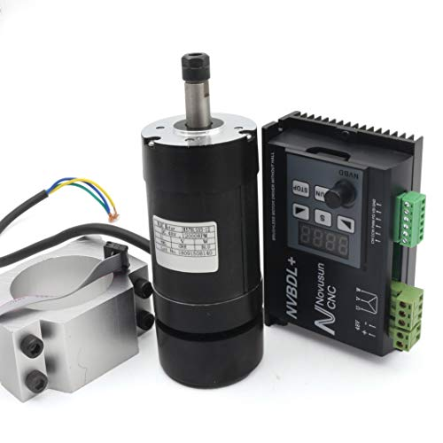 - 400W CNC DC Air Cooled Spindle Motor ER8 NVBDL+ 12000rpm Brushless Spindle Motor kit + 600w Brushless Motor Driver Without Hall LCD Panel + 55mm Mount Bracket 【For small and medium-sized processing】