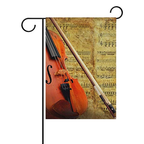 YATELI Garden Flag 28x40 Inches Double Sided Retro Music Score Instrument Violin Banner for Outdoor Lawn Decor]()