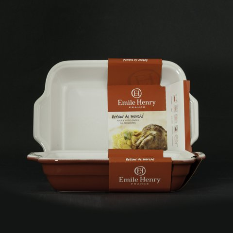 Emile Henry Au Gratin Baking Dish Casserole Pan Dish 9 inch X 11 inch Cerise Red New
