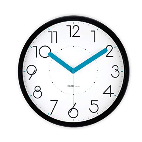 LUHEN Bedroom Silent Wall Clock, Study Living Room Office Hotel Stationery Shop Toy Store Kindergarten Wall Clock Metal Wall Clock (Color : Black, Size : 30.530.5CM)
