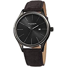 Akribos XXIV Men's Suede Leather Watch – Classic Round Casual Designer Wristwatch with Date Window and Sunray Dial – Black - AK1019BK