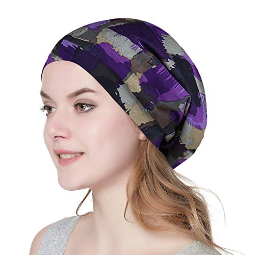 Slouchy Striped Beanie Hat Comfortable Head Wrap Cap