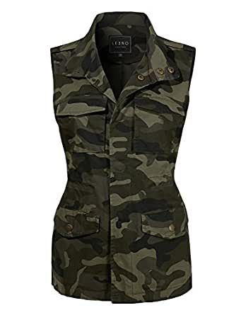 LE3NO Womens Safari Camo Drawstring Waist Military Anorak Vest with Pockets