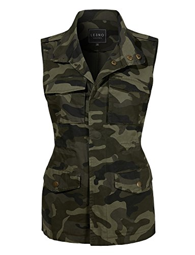 (LE3NO Womens Safari Camo Drawstring Waist Military Anorak Vest with Pockets)