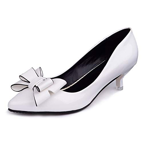 Energyers Retro Fashion high Heels fine with Bow Versatile Shallow Mouth Trendy Casual Sexy Prom Wedding Shoes