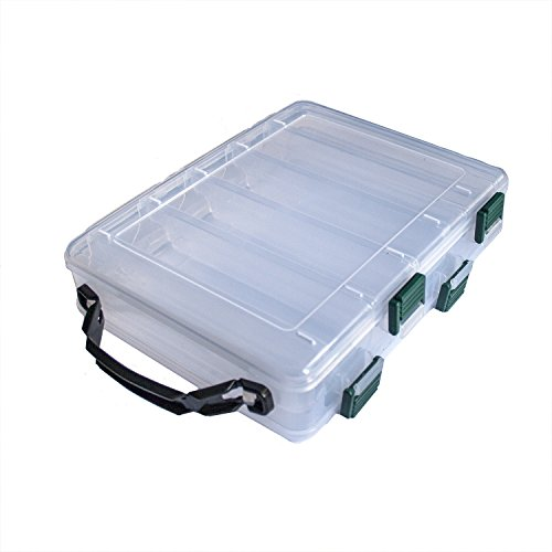 ing Lure Box, 10-Compartment Double-sided,Adjustable Plastic Hook Tackle Box Storage Case Organizer (10-Compartment Double-sided Fishing Lure Box) ()