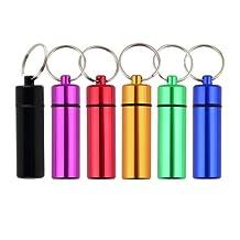 KUNGKEN 6pcs Aluminum Pill Box Case Bottle Stash Drug Holder Keychain Container Waterproof