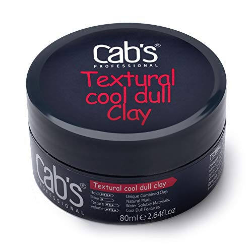 Cab's Textural Cool Dull Hair Clay for Men with Matte Finish Molding Hair Wax Paste, Strong Hold Without The Shine - [2.82 oz / 80 g]