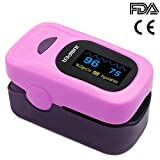 Jumper 500A Generation 4 Fingertip OLED Display Pulse Oximeter Blood Oxygen Saturation Monitor with Silicon cover Lanyard Batteries(Purple)