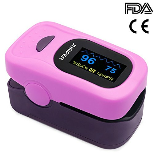 Jumper 500A Generation 4 Fingertip OLED Display Pulse Oximeter Blood Oxygen Saturation Monitor with Silicon cover Lanyard Batteries(Purple) by Jumper