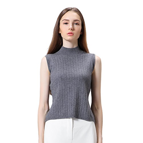 Woman Pullover Knit Turtle Neck Sleeveless Sweater Vest (S/M, Grey)