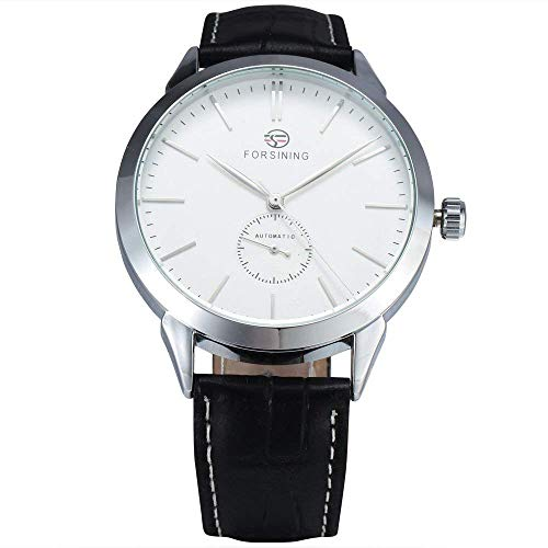 Men's Minimalist White Dial Automatic Watch Stainless Steel with Leather Strap Mechanical Watch for Men (Silver White)