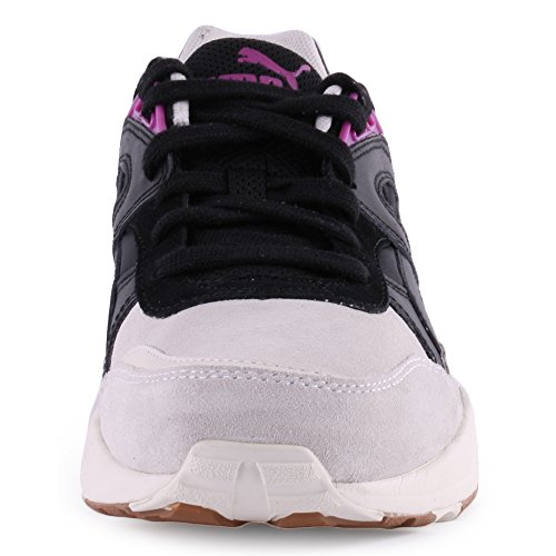 Puma R698 Blocks & Stripes Womens Leather & Suede Trainers Black White - 39 EU