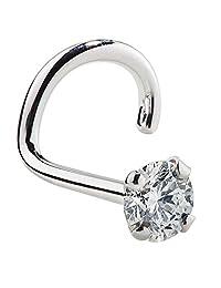 SI1- 2mm (.030 ct. tw) Diamond 14K White Gold Nose Ring Twist Screw - 18G