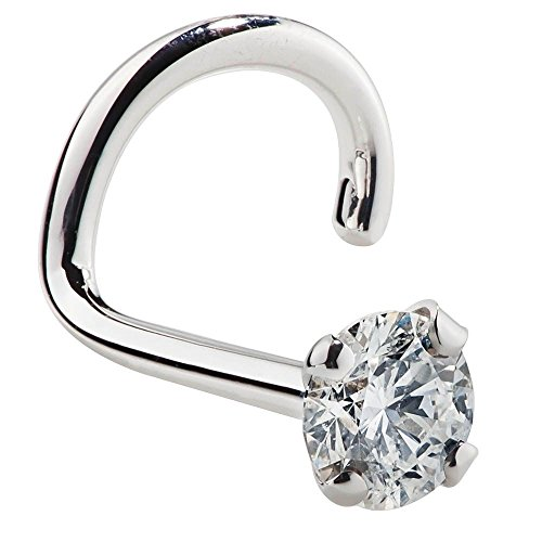 FreshTrends 2mm 0.03 ct. tw Diamond 14K White Gold Nose Ring Twist Screw - 20G (Diamond Stud Nose Rings)