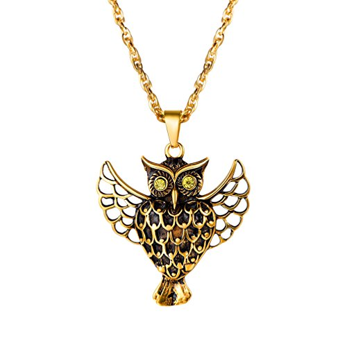 PROSTEEL Owl Necklace 18K Gold Plated Animal Pendant Chain Gift Vintage Men Jewelry