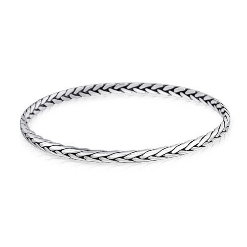 - Wheat Weave Braided Twisted Woven Rope Round Stackable Bangle Bracelet For Women For Girlfriend 925 Sterling Silver