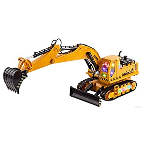 WolVol (11 Channel + Demo Function) Big Electric RC Remote Control Excavator Construction Truck Toy for Kids with Lights and Sounds (Can Turn Off Sounds)