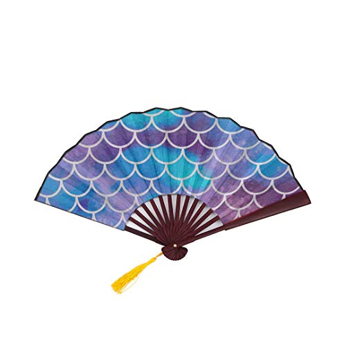 Colored Folding Fan Mermaid Scales Fish Scales Underwater with Bamboo Frame Tassel Pendant and Cloth Bag Hand Held Fans for Women Folding Fun Hand Fan Hand Fan -