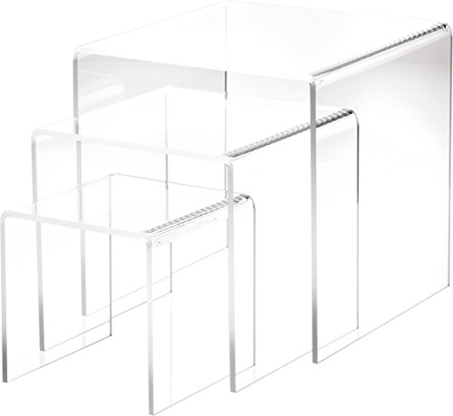 """Plymor Brand Clear Acrylic Square Risers, Nesting Assortment Pack, Set of 3 Large (1/4"""" Thick)"""