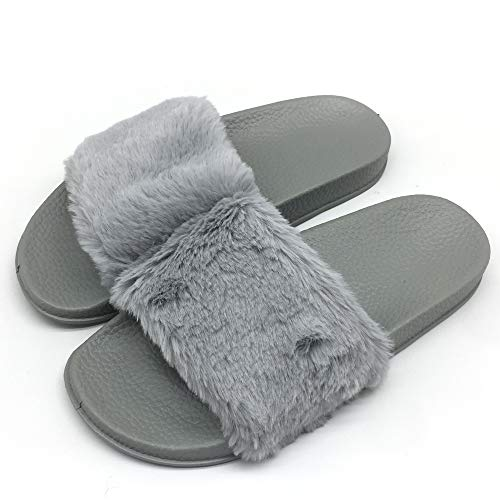 Womens Faux Fur Flat Slide Sandals Arch Support Fluffy Plush Slip on Shoes Indoor House Slippers Non Slip Grey