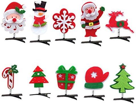 Toyvian 10 Pezzi Forcine di Natale Accessori Natalizi per Capelli in Tessuto Natalizio Tornante a Molla per Bambine