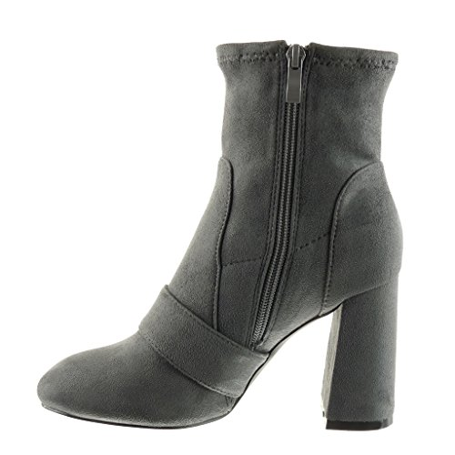 Shoes thong Block Grey Ankle Booty soft boots Fashion CM high 9 Angkorly buckle Women's heel cavalier Exq48Swa