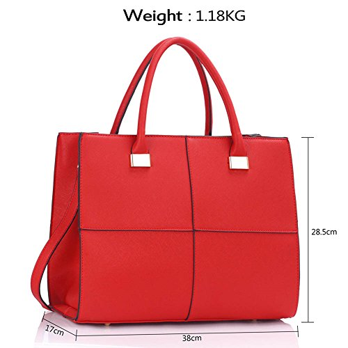 Leahward Faux Tote Check Women's Black Bag Bags Shoulder Genuine Xl Leather red 153 Large Designer ww5x4rTq