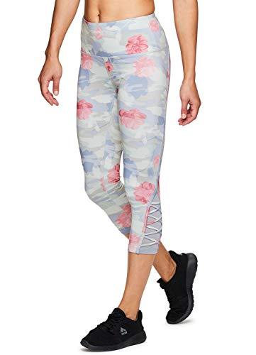 (RBX Active Women's Floral Camo Mesh Capri Yoga Leggings Multi Olive XL)